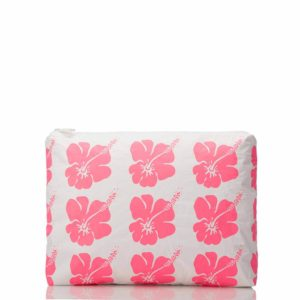 Mid Hibiscus Bloom Pouch in Electric Pink