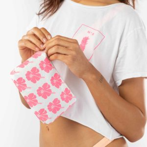 Mini Hibiscus Bloom Pouch in Electric Pink