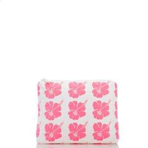 Small Hibiscus Bloom Pouch in Electric Pink